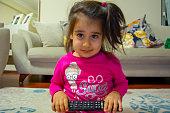 Daughter, girl, baby, TV, watching TV,