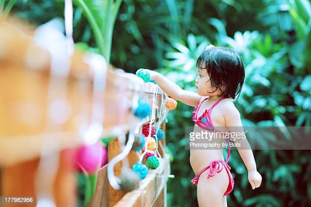 Little girl wearing bikini