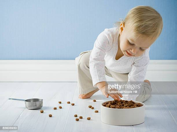 little girl with a bowl of dog food