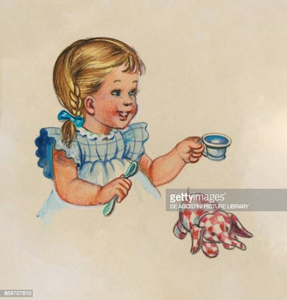 A little girl with a spoon and a cup in her hand and an elephant cloth doll children's illustration drawing