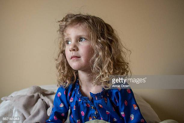Little Girl with Curly Bed Head