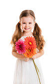 little girl with flowers(isolated on white background, isolated)