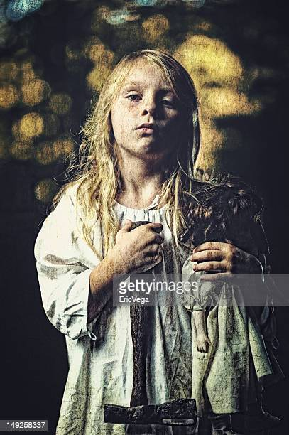 Little Girl With Hatchet in the forest