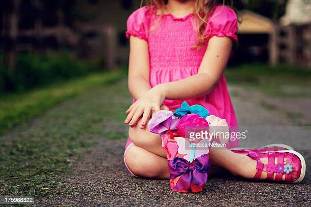 Little Girl With Paper Flowers