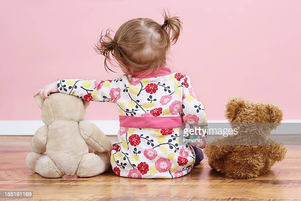 Little Girl With Teddy Bear Pals