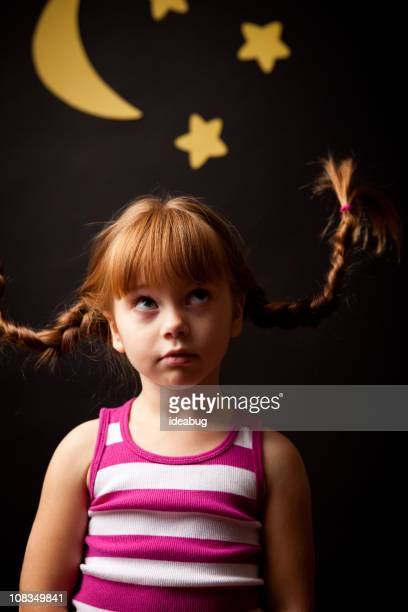 Little Girl with Upward Braids Looking at Moon and Stars