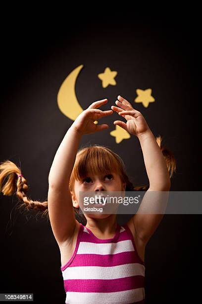 Little Girl with Upward Braids Reaching for Moon and Stars