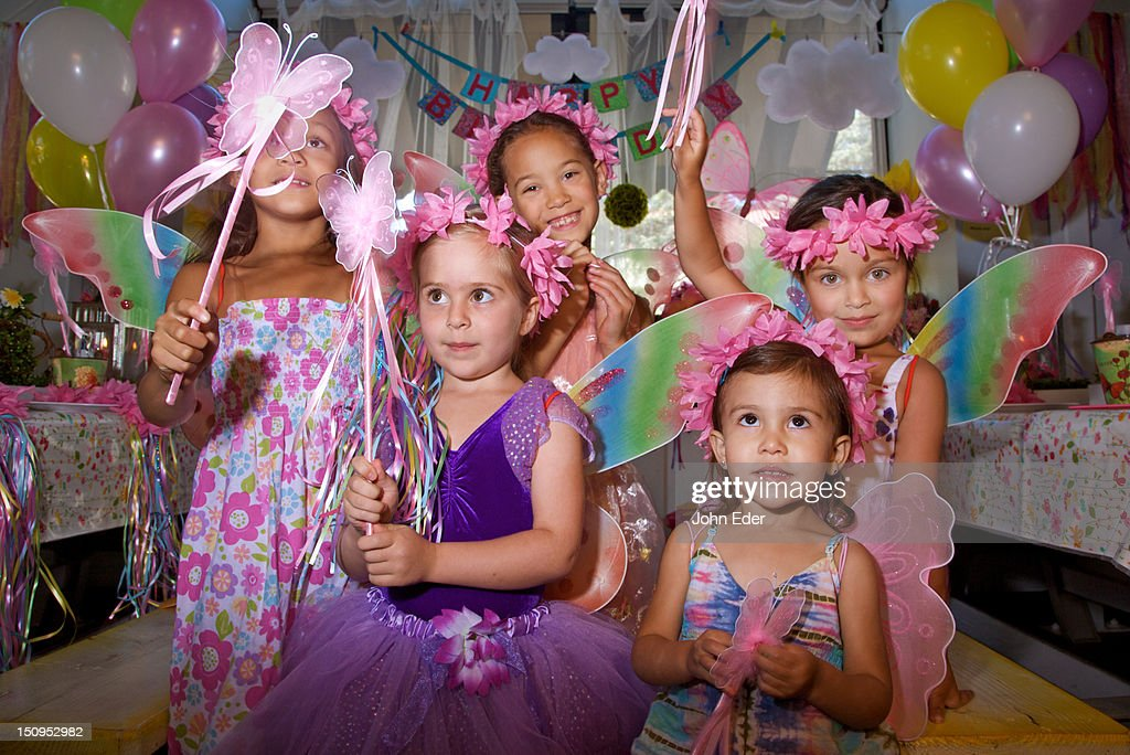 Little girls at a birthday party : Stock Photo