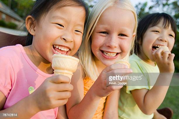 Little Girls Eating Ice Cream