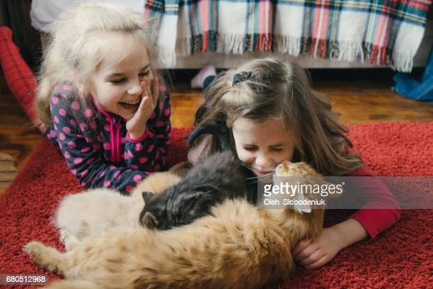Mädchen spielen mit Kätzchen auf dem Bett