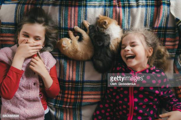 Little girls playing with kitten on the bed