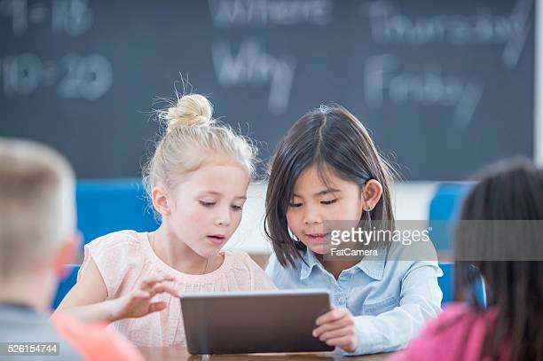 Little Girls Using a Digital Tablet
