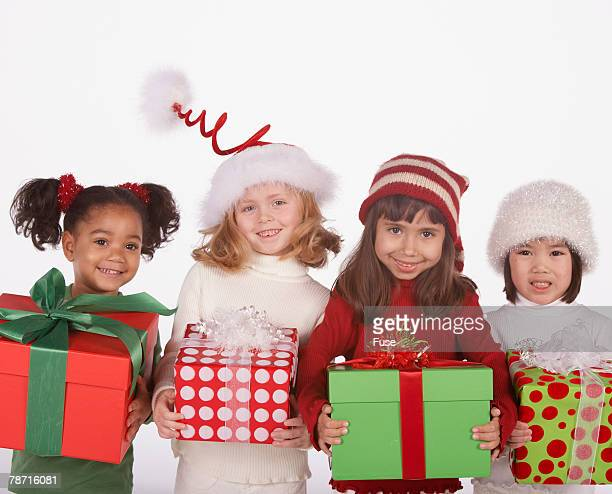 Little Girls with Christmas Presents