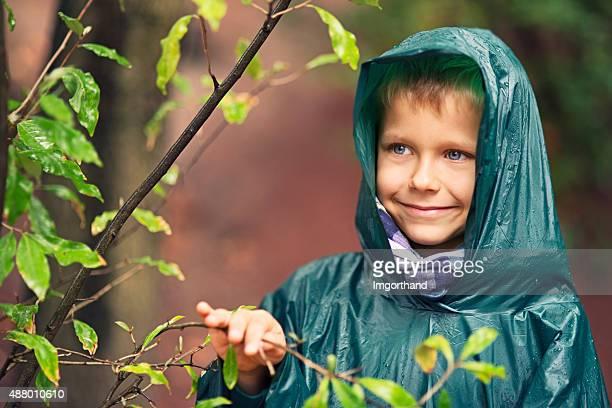 Little hiker in the rain
