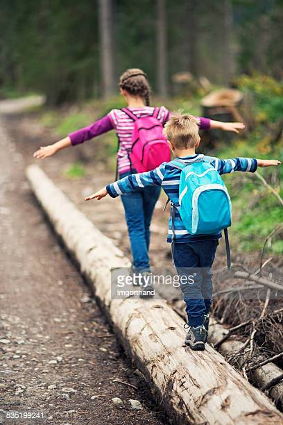 Little hikers balancing on tree trunk