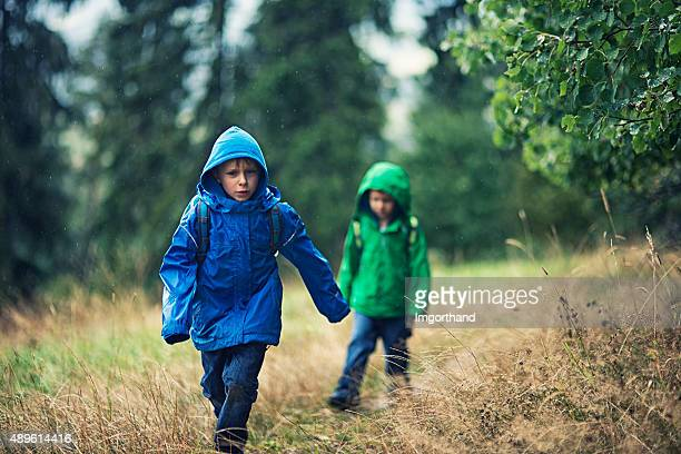 Little hikers in the rain