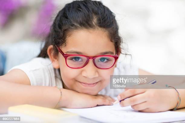 Little hispanic Girl Studying