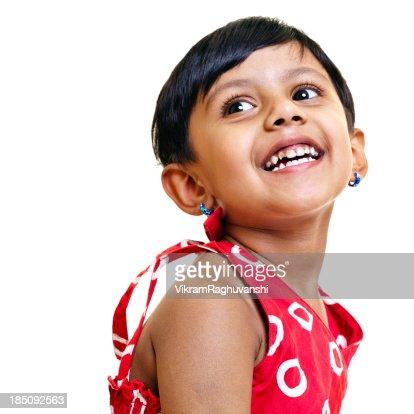リトルインドの女の子白で分離