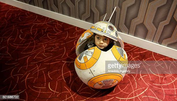 A little kid suited as a movie character poses during Turkish premiere of 'Star Wars The Force Awakens' at Profilo Shopping Mall in Istanbul Turkey...