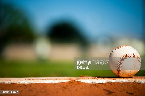 Little League Baseball on Pitching Mound Close Up