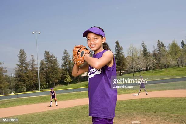 Little league softball pitcher