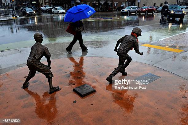 Little League themed bronze statues grace the downtown streets of Williamsport PA They were installed there last year in celebration of the 75th...