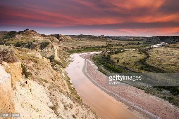 Little Missouri River Landscape at Sunset