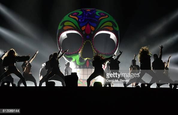 Little Mix perform during the BRIT Awards 2016 dress rehearsal at The O2 Arena on February 24 2016 in London England