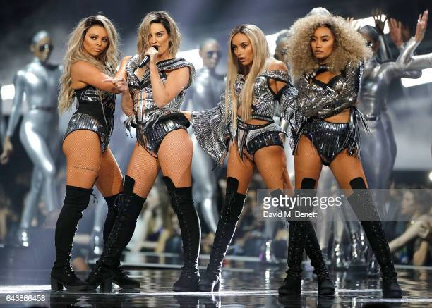 ONLY Little Mix perform on stage at The BRIT Awards 2017 at The O2 Arena on February 22 2017 in London England