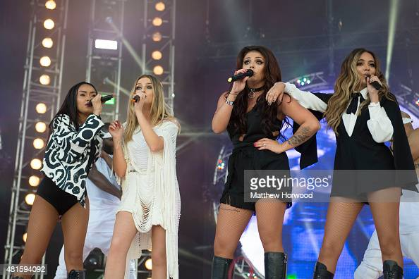 Little Mix perform on stage during MTV Crashes Plymouth at Plymouth Hoe on July 22 2014 in Plymouth England