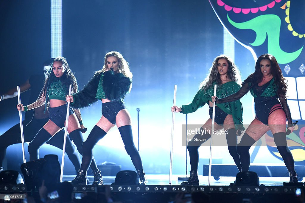 Little Mix perform on stage during the BRIT Awards 2016 at The O2 Arena on February 24 2016 in London England