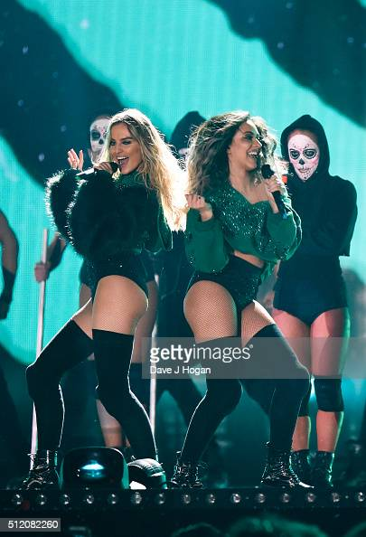 Little Mix performs during the BRIT Awards 2016 at The O2 Arena on February 24 2016 in London England