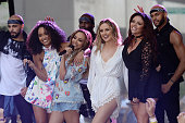 Little Mix performs on NBC's 'Today' at Rockefeller Plaza on August 19 2015 in New York City