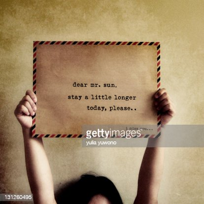 Little note to Mr. Sun : Stock Photo