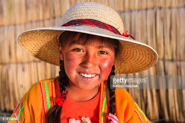 Little Peruvian girl on Uros Island