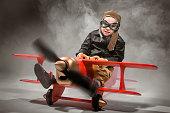Little Pilot During Flight