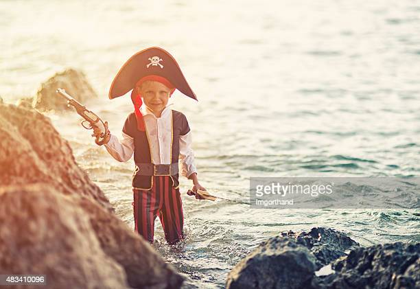 Little pirate captain in water