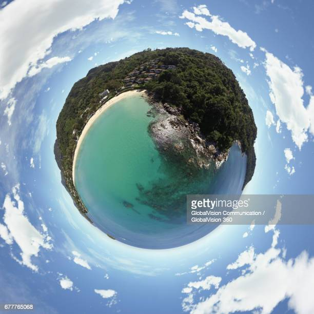 360° Little Planet above Crystal Clear Water in Karon, Thailand