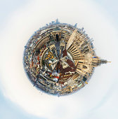 Little planet Milan with cathedral