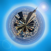 A little planet style image of the skyline of New York. Logos removed prior to processing.