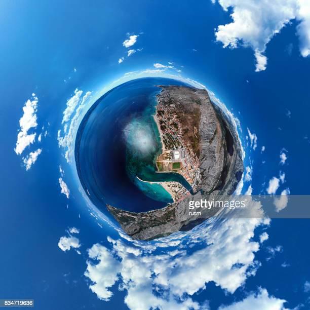 Little Planet panorama of Omis resort, Dalmatian Coast, Croatia