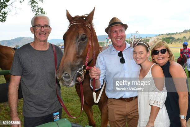 Little Red Devil withAndrew Dale and owners Adrian and Wendy Grantham and track work rider Hollee Bohr after Costello Rural / Life Plan Strategic...