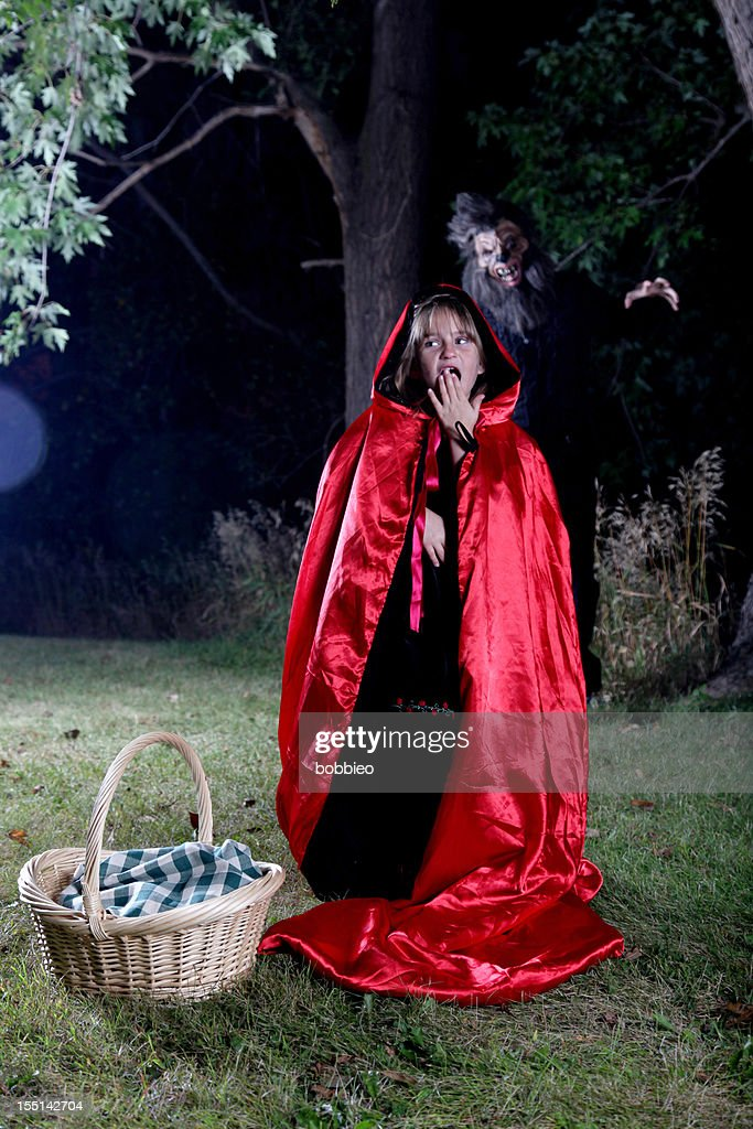 Little Red Riding Hood and Big Bad Wolf : Stock Photo