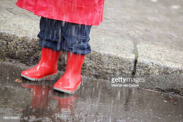 Little Red Wellingtons in the Rain