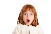 Color photo of a little 4-5 year old girl gasping with a look of surprise on white background.