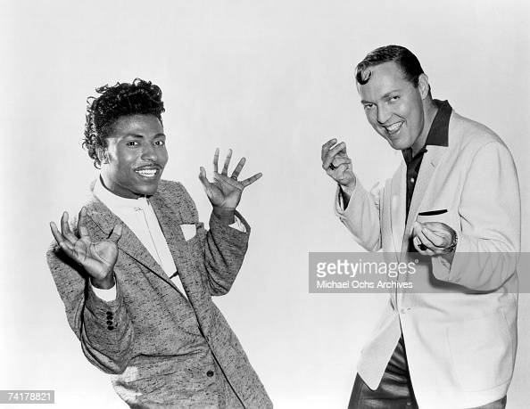 Little Richard and Bill Haley perform on the set of The movie 'Don't Knock The Rock' in 1956 in Los Angeles California
