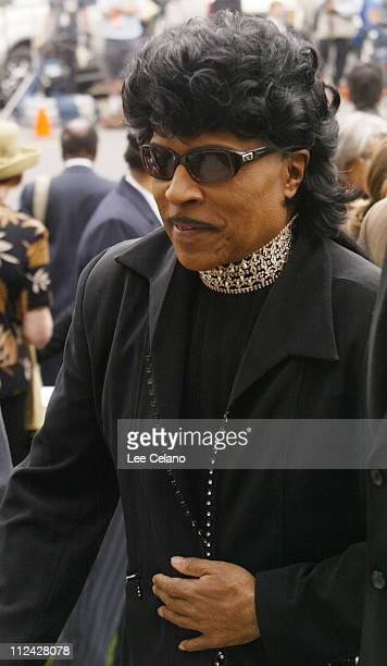 Little Richard arrives for the funeral of Ray Charles June 18 2004 at the First AME Church in Los Angeles