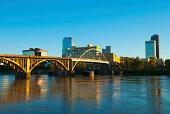 'Little Rock skyline, river, and bridge'
