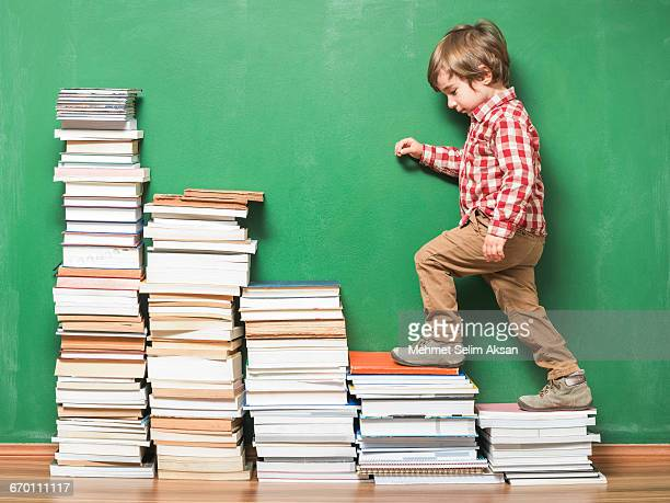 Little Schoolboy Climbing To Ladder Made Of Books