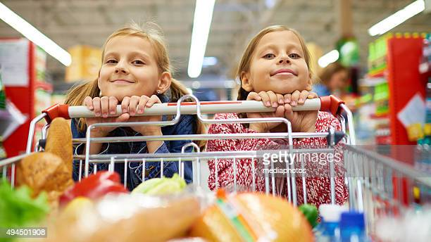 Little sisters doing shopping